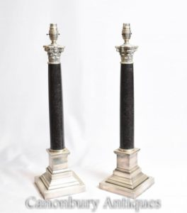 Pair Regency Коринфские настольные лампы Silver Plate