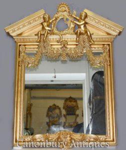 Palladian Gilt Pier Mirror Нео Классические херувимы