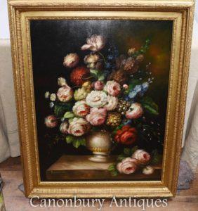 Большой викторианский цветочный дисплей Натюрморт Картина маслом