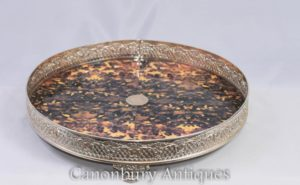 Викторианская серебряная тарелка для подноса Faux Tort