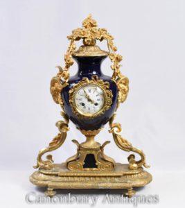 Французская империя Мантийные часы Ормолу и фарфоровые часы