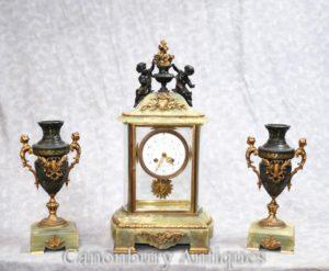 Антикварная Империя Onyx Позолоченные часы Set Timepiece Cherub Garniture