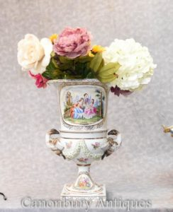 Одноместный Мейсенский фарфор Классический Campana Urn Vase Planter