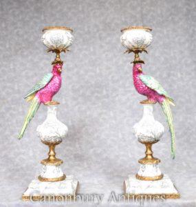Пара французских фарфоровых тропических попугаев Candelabras