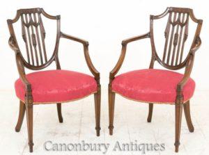 Кресла Hepplewhite-Античное Красное Дерево Около 1900 Года