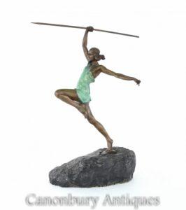 Арт-деко Бронзовая статуя Дианы Лучник от La Faguays