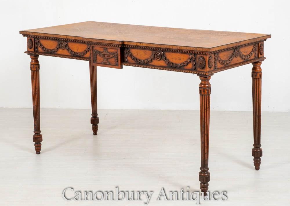 Консольный столик Hepplewhite - резная инкрустация из дуба под старину