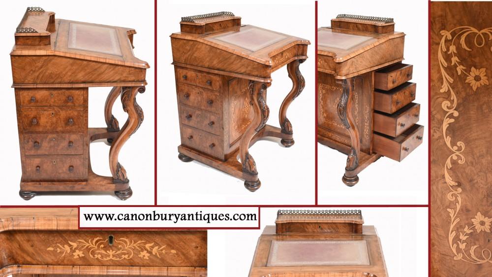 Викторианский Давенпорт Письменный стол с инкрустацией из орехового дерева 1860