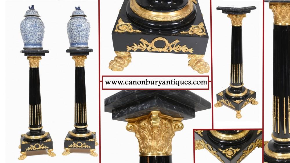 Пьедестал в стиле ампир из лака для классических столов-колонн